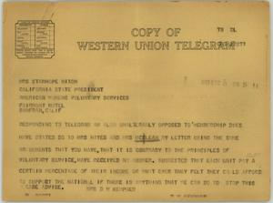 Primary view of object titled '[Telegram from Mrs. Kempner to Mrs. Nixon, December 8, 1943]'.