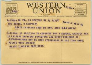 Primary view of object titled '[Telegram/Memo from Ms. McLean to to Mrs. Kempner, September 19, 1944]'.