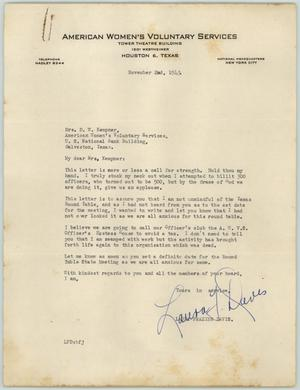 Primary view of object titled '[Letter from Mrs. Davis to Mrs. Kempner, November 2, 1943]'.