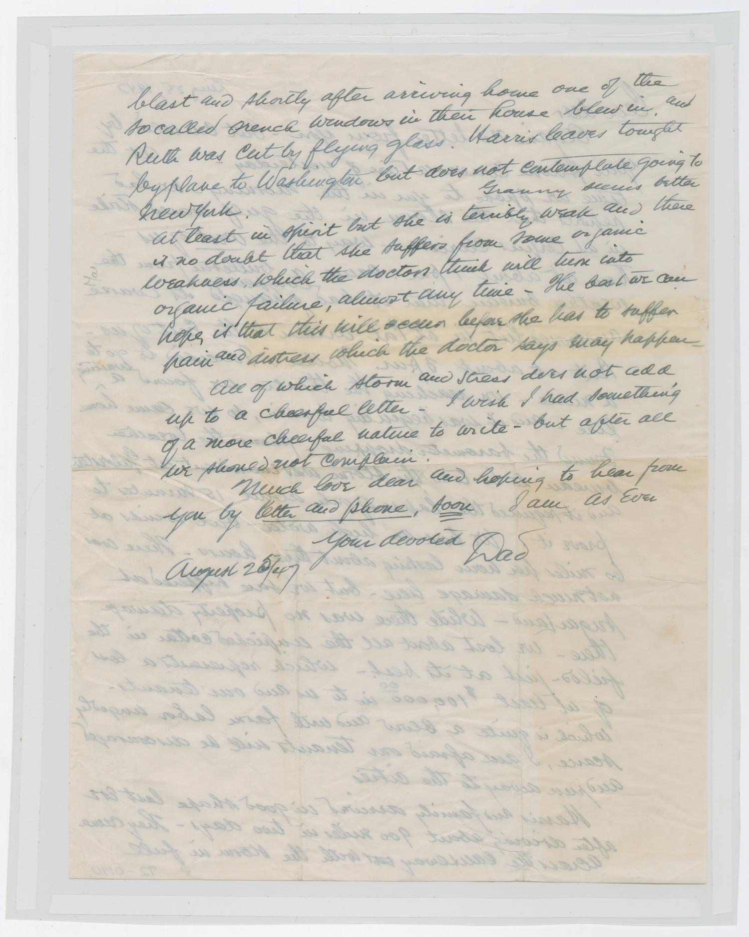 [Letter from I.H. to Cecile Kempner, August 25, 1945]                                                                                                      [Sequence #]: 2 of 4