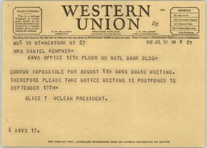 Primary view of object titled '[Telegram from Ms. McLean to Mrs. Kempner, July 30, 1942]'.