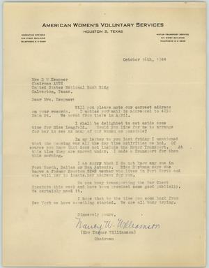 Primary view of object titled '[Letter from Mrs. Williamson to Mrs. Kempner, October 16, 1944]'.