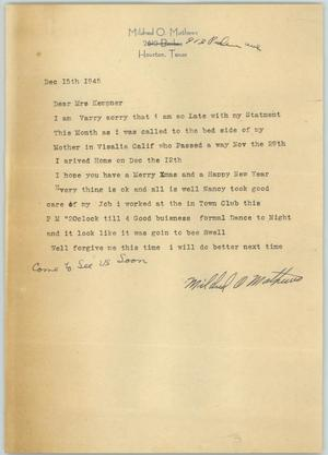 Primary view of object titled '[Letter from Mrs. Matthews to Mrs. Kempner, December 15, 1945]'.
