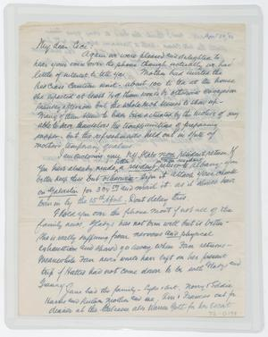 Primary view of [Letter from I. H. to Cecile Kempner, April 14, 1946]