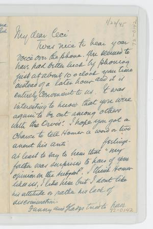 [Letter from Isaac to Cecile, January 22, 1945]