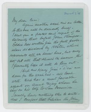 Primary view of object titled '[Letter from I. H. to Cecile Kempner, March 7, 1948]'.