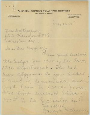 Primary view of object titled '[Letter from Mrs. Williamson to Mrs. Kempner, March 21, 1945]'.