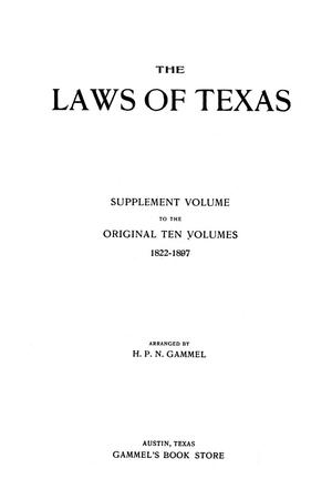 Primary view of object titled 'The Laws of Texas, 1911 [Volume 15]'.