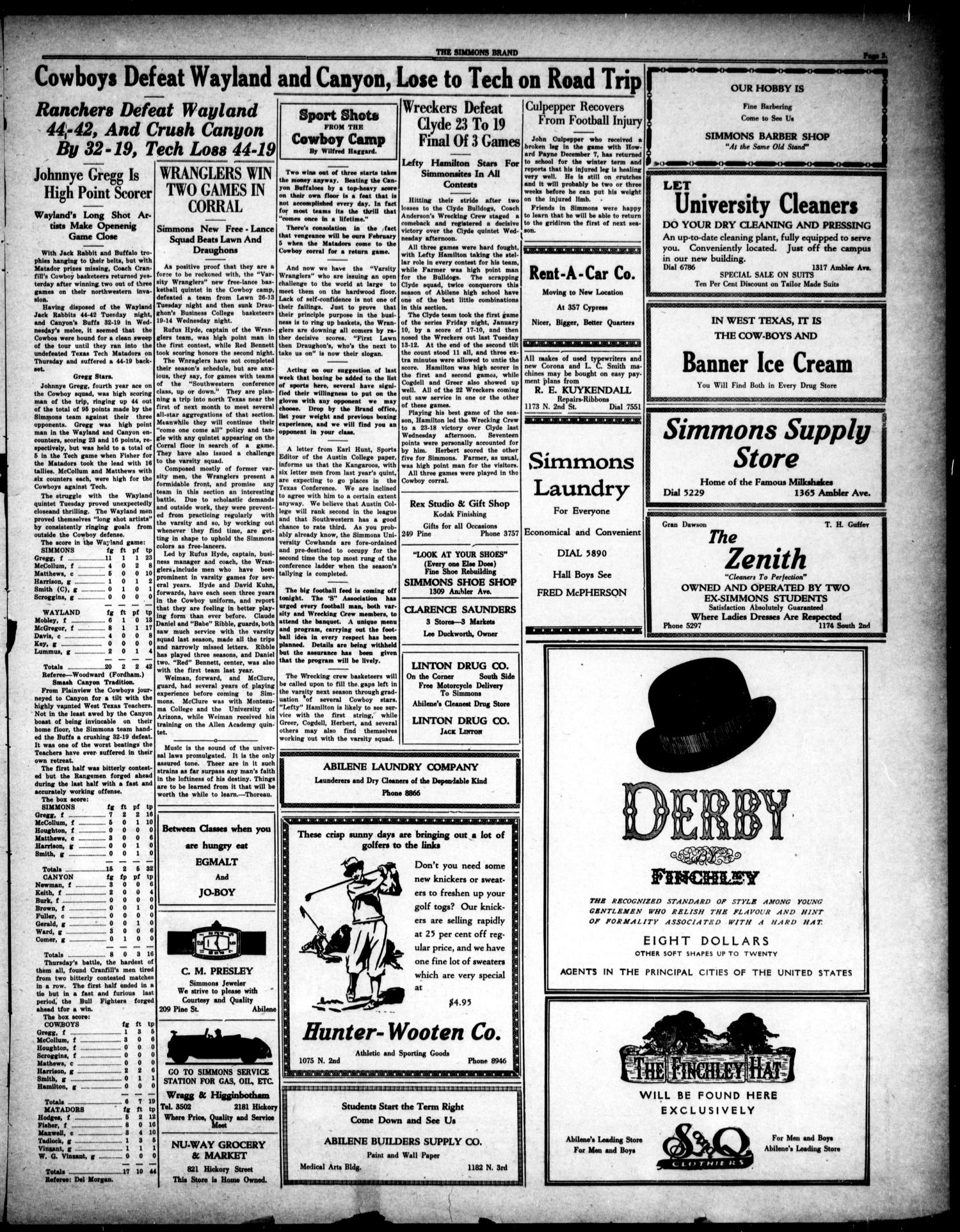 The Simmons Brand (Abilene, Tex.), Vol. 14, No. 16, Ed. 1, Saturday, January 18, 1930                                                                                                      [Sequence #]: 3 of 4