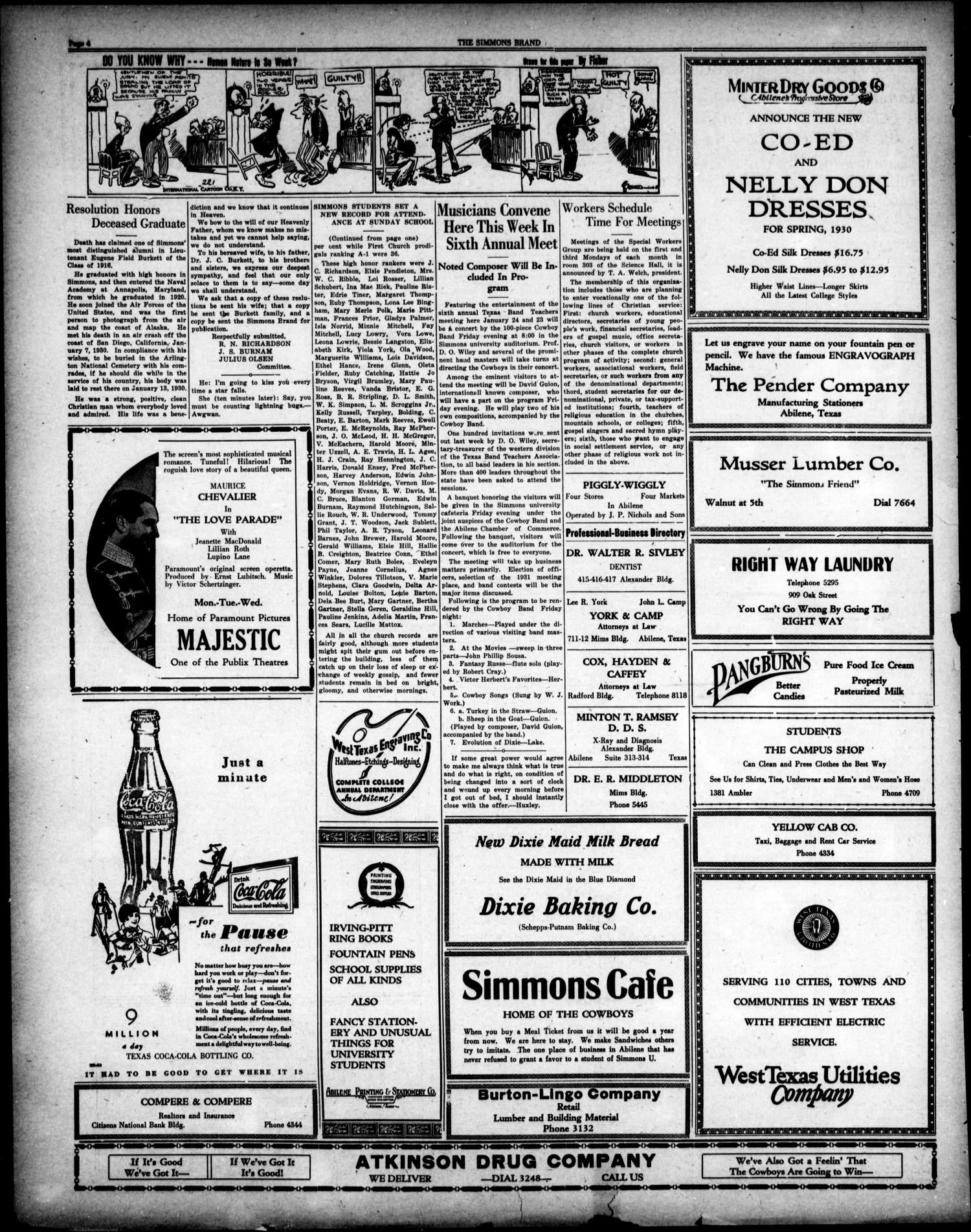 The Simmons Brand (Abilene, Tex.), Vol. 14, No. 16, Ed. 1, Saturday, January 18, 1930                                                                                                      [Sequence #]: 4 of 4