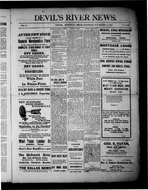 Primary view of Devil's River News. (Sonora, Tex.), Vol. 32, No. 1668, Ed. 1 Saturday, November 11, 1922