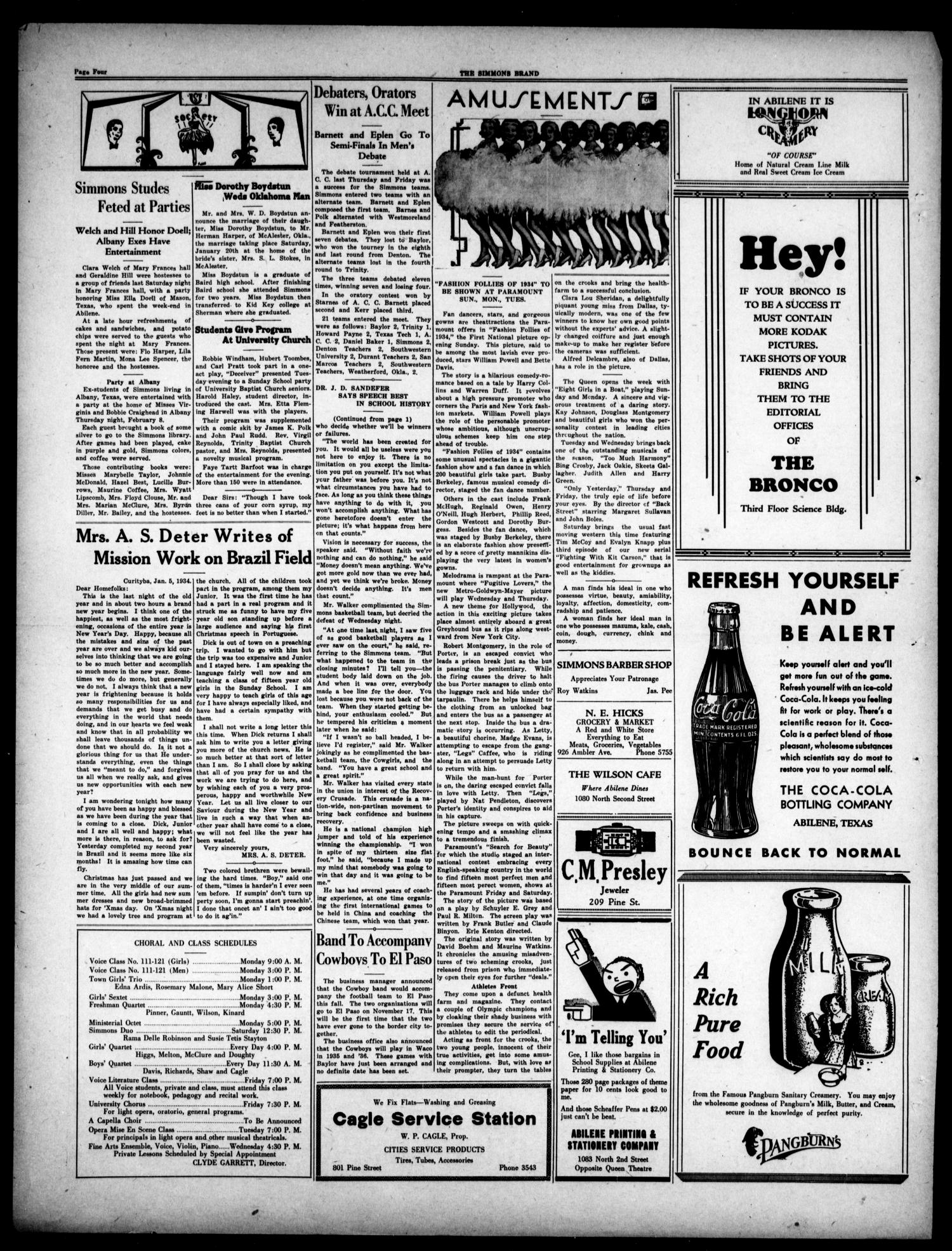 The Simmons Brand (Abilene, Tex.), Vol. 18, No. 17, Ed. 1, Saturday, February 17, 1934                                                                                                      [Sequence #]: 4 of 4
