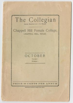 Primary view of object titled 'The Collegian, Volume 1, Number 1, October 1905'.