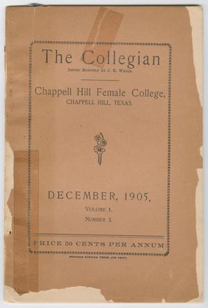 Primary view of object titled 'The Collegian, Volume 1, Number 3, December 1905'.