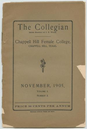 Primary view of object titled 'The Collegian, Volume 1, Number 2, November 1905'.