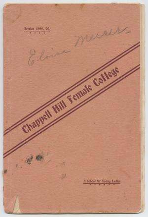 Primary view of object titled 'Catalog of Chappell Hill Female College, 1899'.