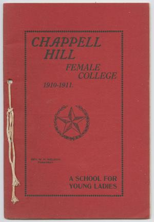 Primary view of object titled 'Catalog of Chappell Hill Female College, 1910'.