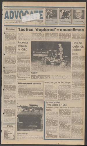 Primary view of object titled 'Cleveland Advocate (Cleveland, Tex.), Vol. 69, No. 38, Ed. 1 Friday, September 23, 1988'.