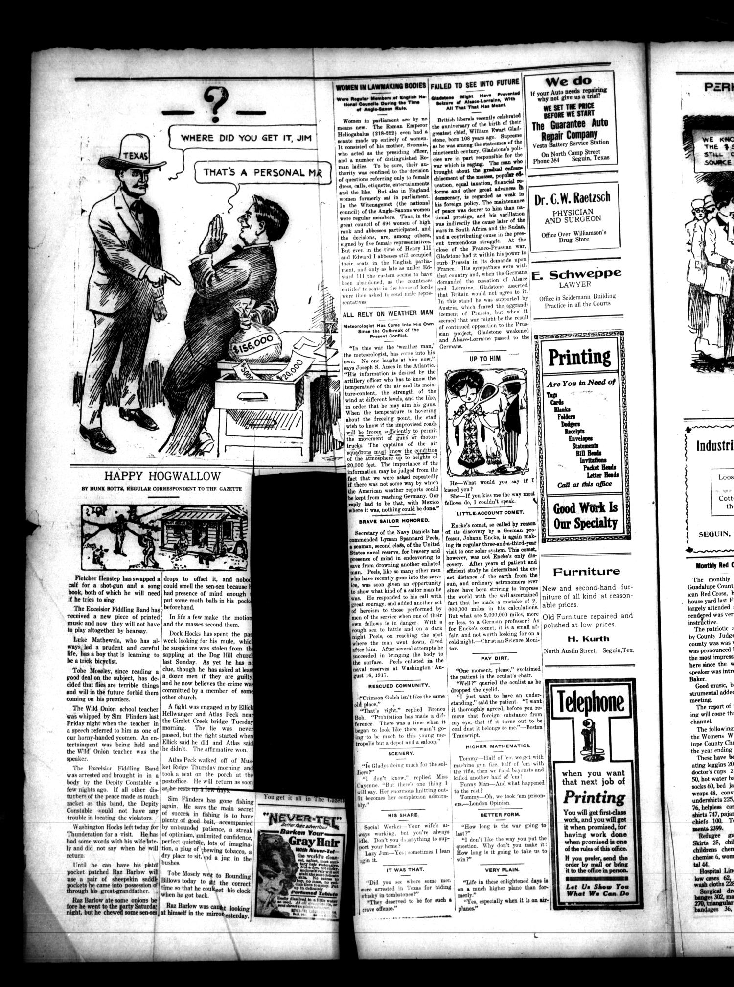 The Guadalupe Gazette (Seguin, Tex.), Vol. 19, No. 29, Ed. 1 Friday, July 19, 1918                                                                                                      [Sequence #]: 2 of 8