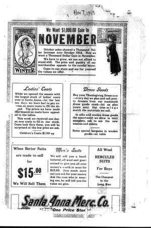 Primary view of object titled 'Santa Anna News. (Santa Anna, Tex.), Ed. 1 Friday, November 7, 1913'.