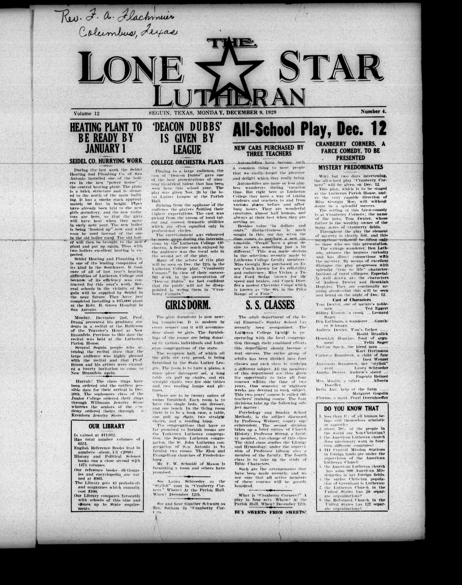 The Lone Star Lutheran (Seguin, Tex.), Vol. 12, No. 4, Ed. 1 Monday, December 9, 1929                                                                                                      [Sequence #]: 1 of 4