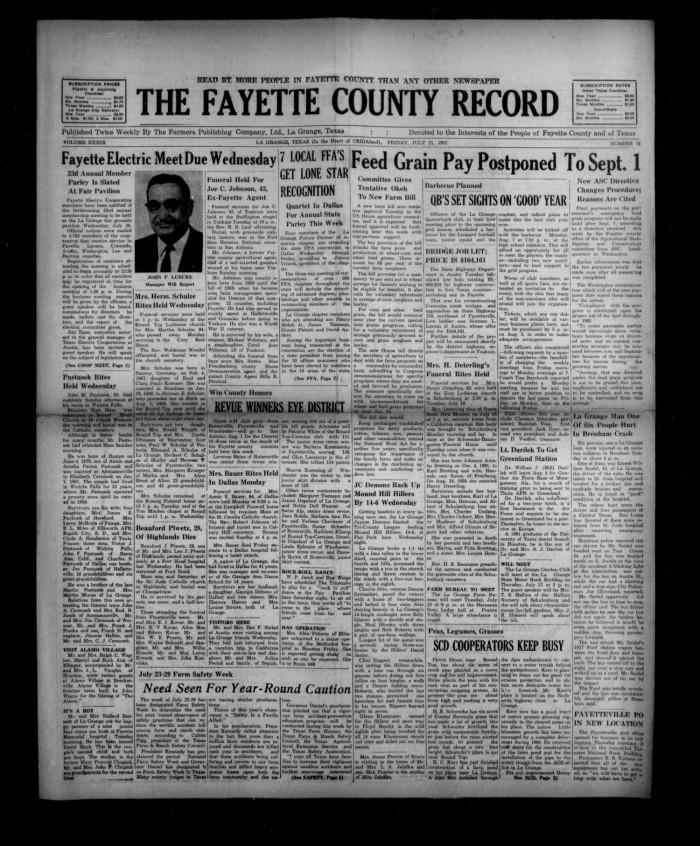 The Fayette County Record La Grange Tex Vol 39 No 75 Ed 1