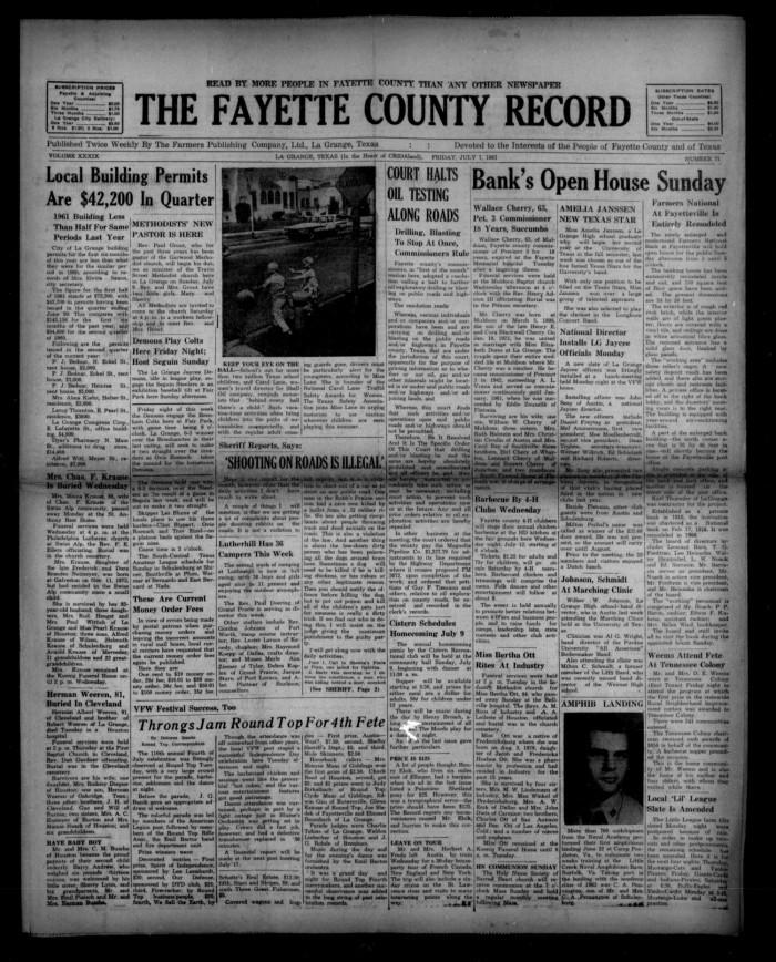 The Fayette County Record La Grange Tex Vol 39 No 71 Ed 1