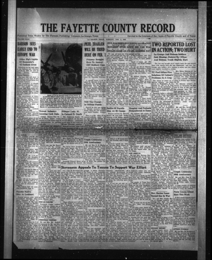 The Fayette County Record (La Grange, Tex ), Vol  23, No  18