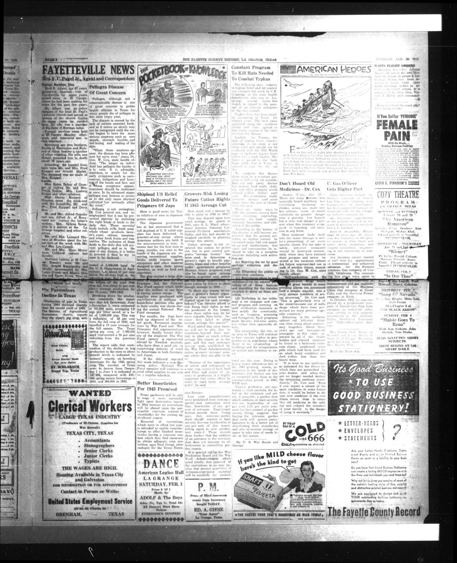 The Fayette County Record La Grange Tex Vol 23 No 26