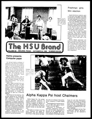 Primary view of object titled 'The HSU Brand (Abilene, Tex.), Vol. 68, No. 7, Ed. 1, Friday, October 24, 1980'.