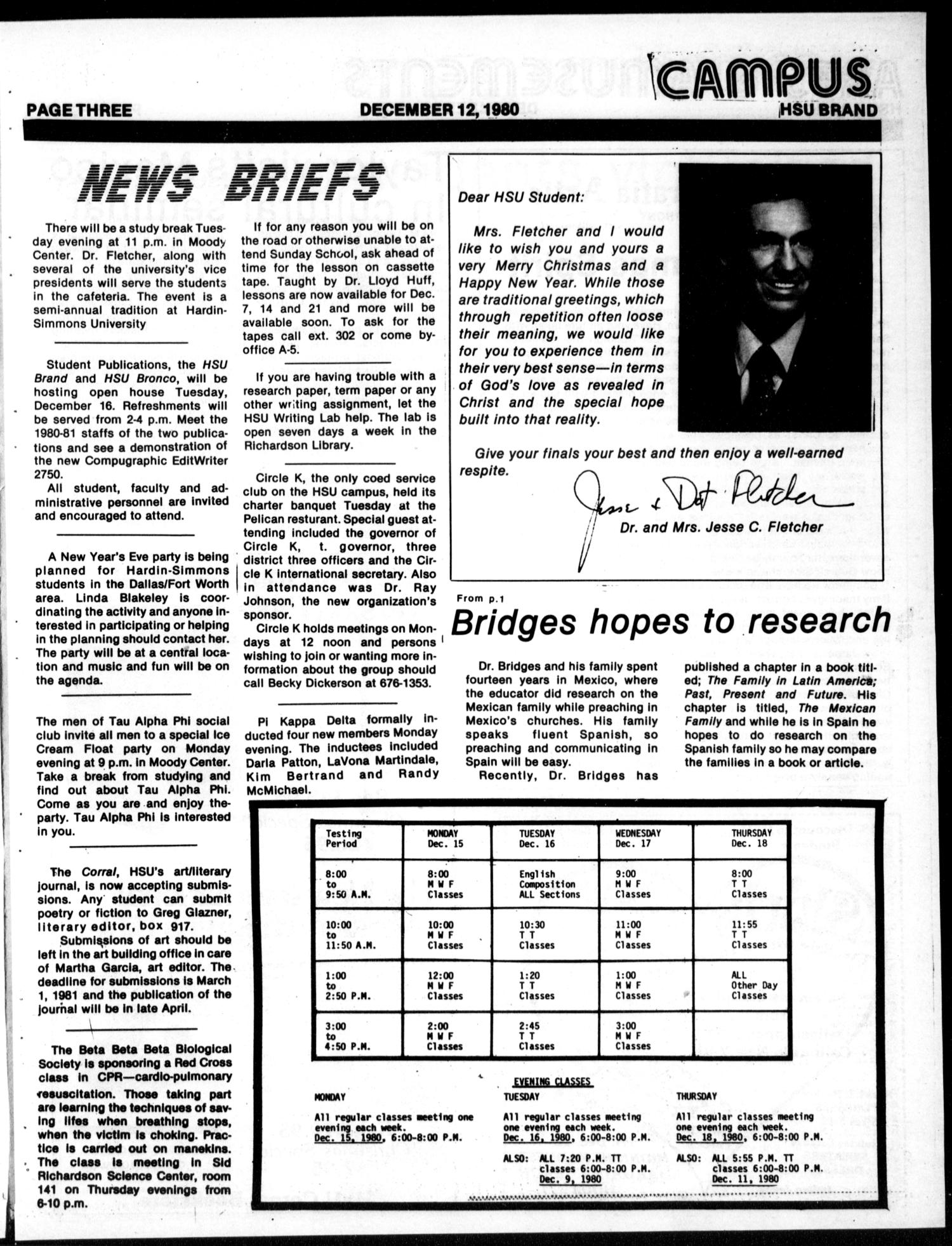 The HSU Brand (Abilene, Tex.), Vol. 69, No. 13, Ed. 1, Friday, December 12, 1980                                                                                                      [Sequence #]: 3 of 8