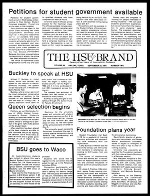 Primary view of object titled 'The HSU Brand (Abilene, Tex.), Vol. 68, No. 2, Ed. 1, Monday, September 21, 1981'.