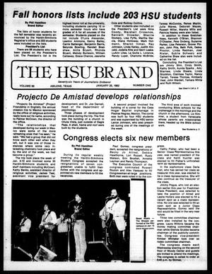 The HSU Brand (Abilene, Tex.), Vol. 68, No. 1, Ed. 1, Monday, January 25, 1982