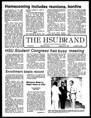 The HSU Brand (Abilene, Tex.), Vol. 68, No. 3, Ed. 1, Monday, February 8, 1982
