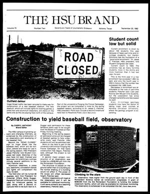 Primary view of object titled 'The HSU Brand (Abilene, Tex.), Vol. 70, No. 2, Ed. 1, Monday, September 20, 1982'.