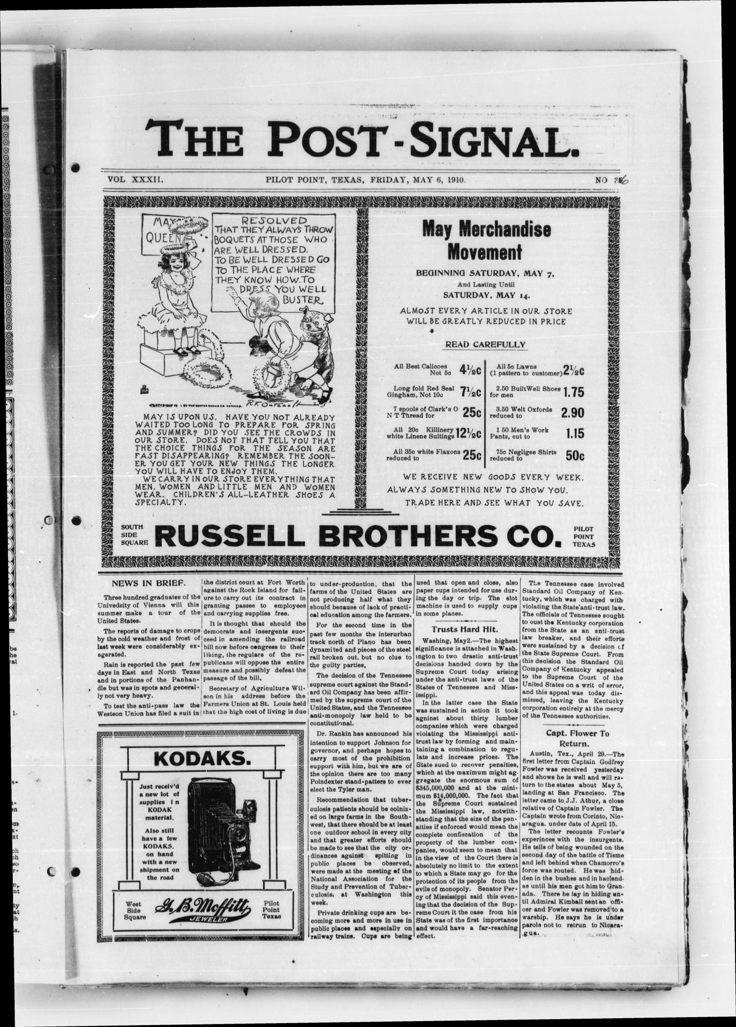 The Post Signal. (Pilot Point, Tex.), Vol. 32, No. 35, Ed. 1