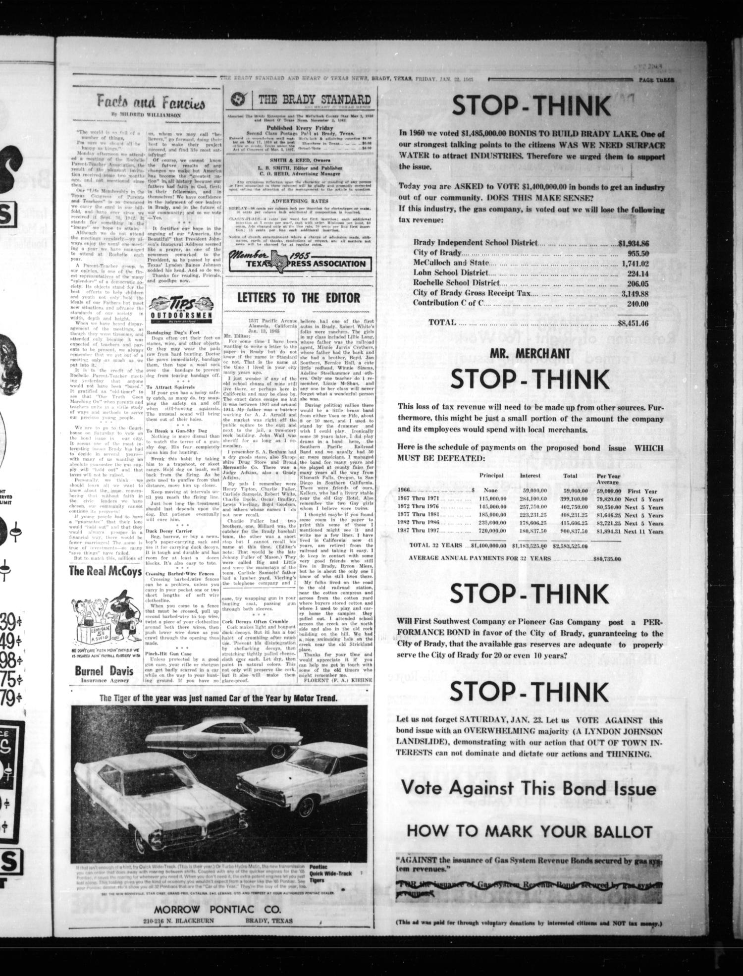 The Brady Standard and Heart O' Texas News (Brady, Tex.), Vol. 56, No. 15, Ed. 1 Friday, January 22, 1965                                                                                                      [Sequence #]: 3 of 8