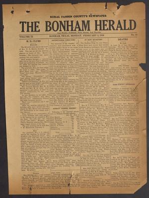 Primary view of The Bonham Herald (Bonham, Tex.), Vol. 9, No. 45, Ed. 1 Monday, February 3, 1936