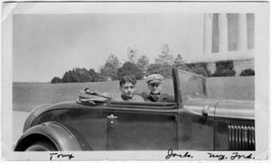 Primary view of object titled '[Anthony J. Fraimo and Jack Cates Ferguson in Car]'.