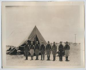 [Photograph of Eight Soldiers by a Tent]
