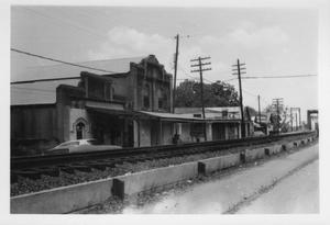 Primary view of object titled '[Businesses built along railroad]'.