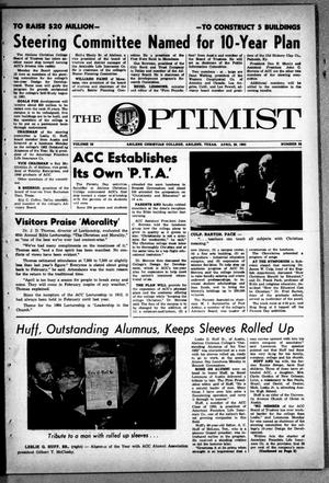 Primary view of object titled 'The Optimist (Abilene, Tex.), Vol. 50, No. 25, Ed. 1, Friday, April 26, 1963'.