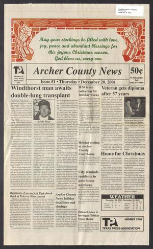 Primary view of object titled 'Archer County News (Archer City, Tex.), No. 51, Ed. 1 Thursday, December 20, 2001'.