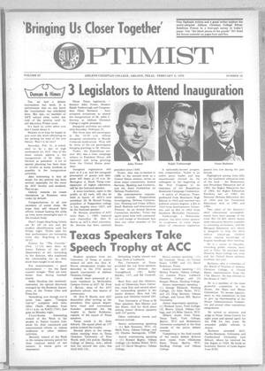 Primary view of object titled 'The Optimist (Abilene, Tex.), Vol. 57, No. 16, Ed. 1, Friday, February 6, 1970'.