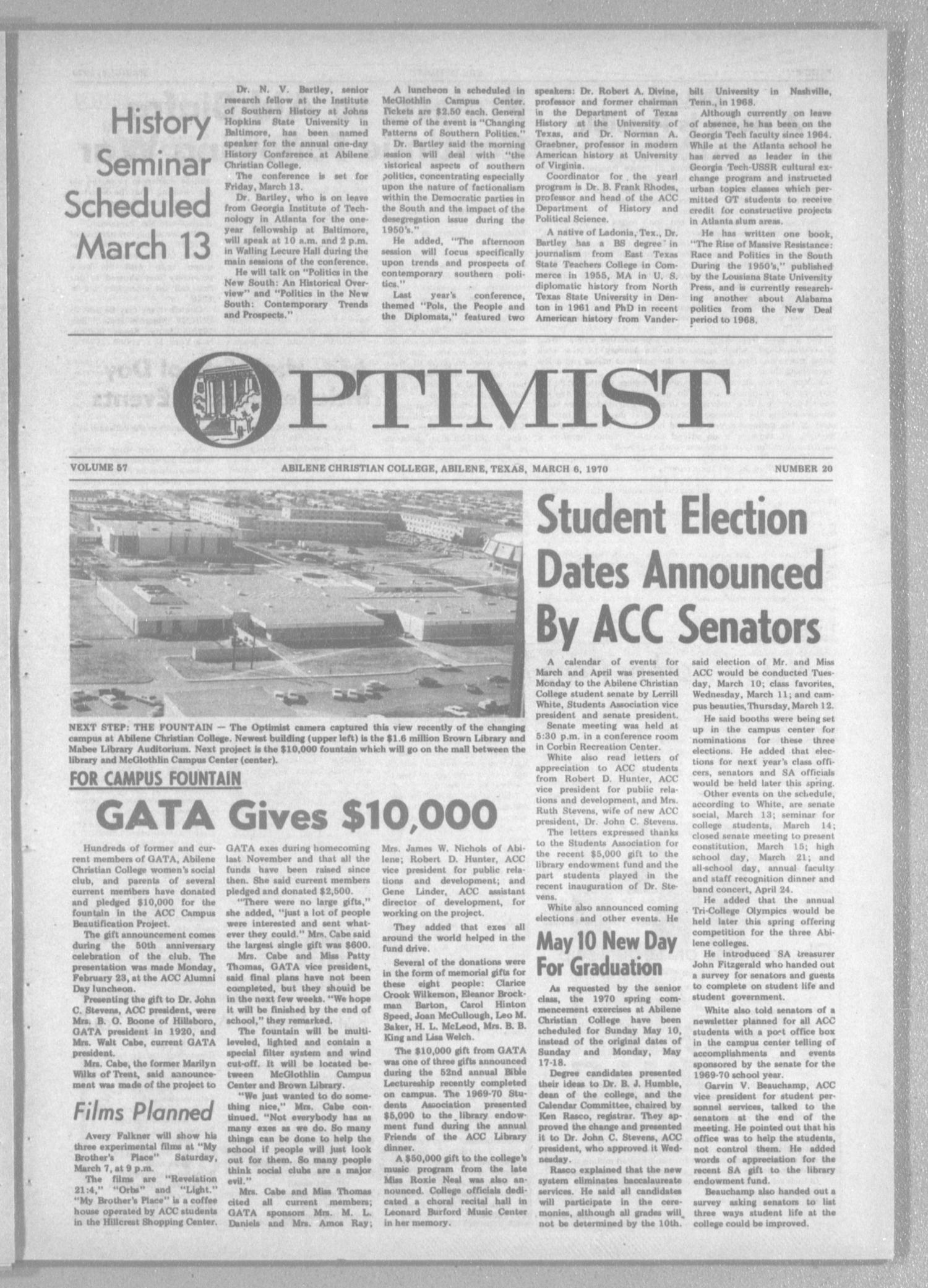 The Optimist (Abilene, Tex.), Vol. 57, No. 20, Ed. 1, Friday, March 6, 1970                                                                                                      [Sequence #]: 1 of 8