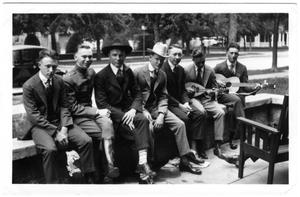 Primary view of object titled '[Fraternity Boys on Whitis Avenue in Austin]'.
