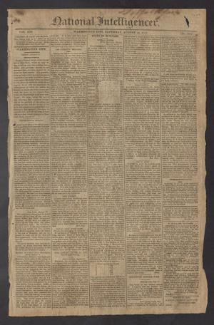 Primary view of National Intelligencer. (Washington City [D.C.]), Vol. 13, No. 2012, Ed. 1 Saturday, August 14, 1813