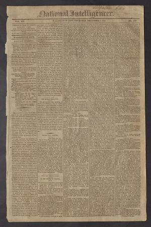 Primary view of National Intelligencer. (Washington City [D.C.]), Vol. 14, No. 2058, Ed. 1 Thursday, December 2, 1813