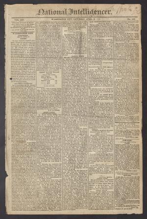 Primary view of National Intelligencer. (Washington City [D.C.]), Vol. 13, No. 1966, Ed. 1 Saturday, April 24, 1813