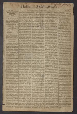 Primary view of National Intelligencer. (Washington City [D.C.]), Vol. 13, No. 1961, Ed. 1 Tuesday, April 13, 1813